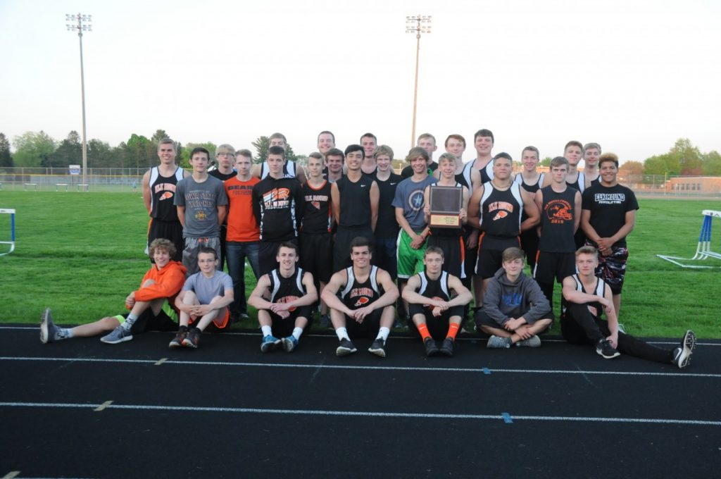 THE ELK MOUND boys' track and field team captured its third consecutive Dunn-St. Croix championship in Mondovi May 15. —photo by Shawn DeWitt