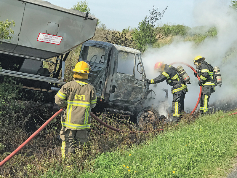 Fertilizer truck burns