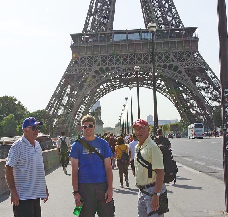 Donald, Corey and Allen Klatt near the Eiffel Tower in Paris.