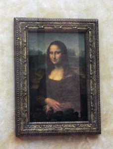 Mona Lisa on Display at the Louvre.