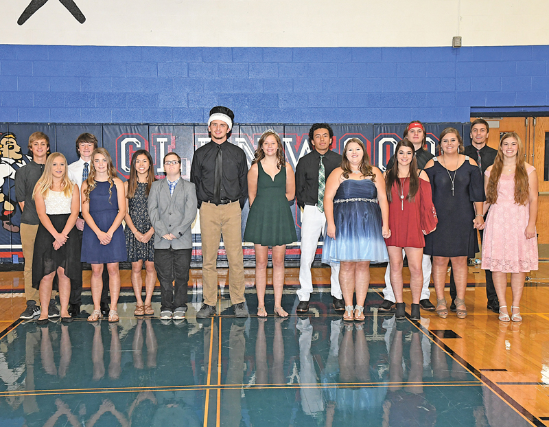 2018 GLENWOOD CITY HOMECOMING COURT — The Glenwood City High School homecoming king and queen were crowned Monday afternoon, October 1. Seniors Allexis Rassbach and Tanner Davis were chosen as the 2018 homecoming queen and king. This year's enitre court is pictured above. From left top right: Justin Moe and Isabel Christmas (freshmen attendants), Will Eggert and Gabby Moede (sophomore attendants), Emily Bethell and Tyler Hurtis (junior attendants), 2018 King Tanner Davis, 2018 Queen Allexis Rassbach and senior court candidates Axel Peralta, Morgan Lee, Alyssa Multhauf, Caleb Petersen, Ashlee Peterson, Hadin DeSmith and Maggie Wallin. —photo by Shawn DeWitt