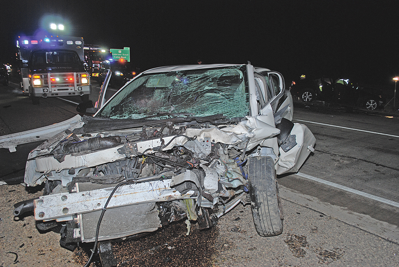 FATAL COLLISION — 21-year-old Stefanie Biedler of Somerset died when the Chevrolet Malibu she was driving, pictured above, collided head-on with a Ford Fusion driven by Christina M. Wiederin, also of Somerset, on State Highway 35/64 near the Village of Somerset shortly after 11 p.m. on Friday, December 21. Biedler was pronounced dead at the scene while Wiederin was transported to Regions in St. Paul, MN with unspecified injuries. —photo by St. Croix County Sheriff's Office