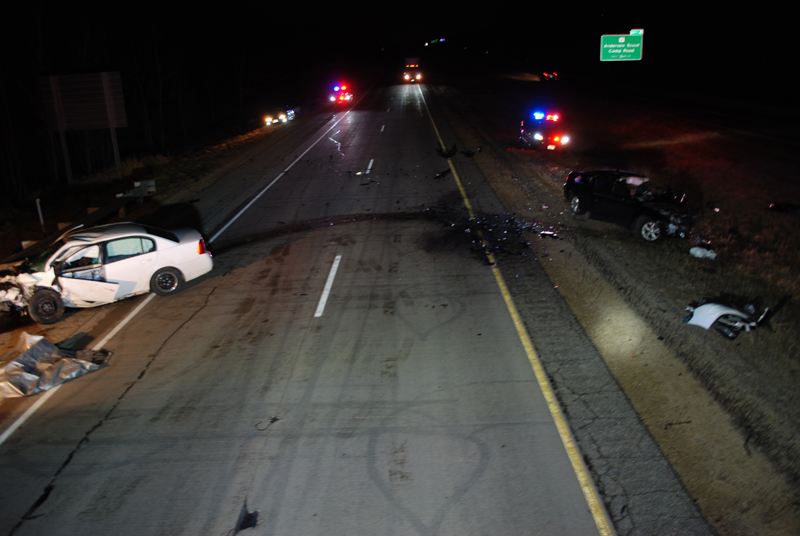 CRASH SCENE — A collision on Highway 35/64 in the Town of Somerset took the life of a 21-year-old Somerset woman. —photo by the St. Croix County Sheriff's Office