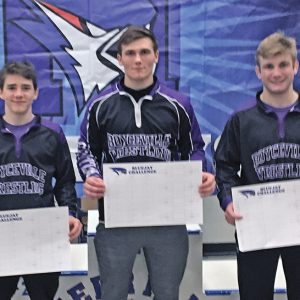 "TITLIST TRIO — Boyceville had three champions crowned in last Saturday's Bluejay Challenge in Merrill. From left to right are: Joasiah Berg, 113-pound champion; Trett Joles, 182-pound champion; and Brock Schlough, 152-pound champion and the tournament's ""Outstanding Wrestler"". —photo submitted"