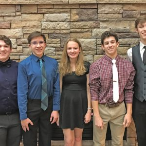 DORIAN VOCAL FESTIVAL 2019 — All six of the Colfax High School students who applied for the Dorian Vocal Festival at Luther College in Decorah, Iowa, January 13 through January 15 this year were accepted. Pictured from left: Hunter Larson (Baritone 1); Wesley Kallstrom (Tenor 2); Rachel Knutson (Soprano 2); Trey Hovde (Tenor 2); and Tate Russell (Tenor 2). Tate also was selected for the Chamber Choir. Not pictured is McKenna Yingst (Alto 1). —photo submitted