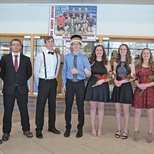 MR. AND MS. COLFAX — Caden Erickson, sophomore, and Emmie Edwards, senior, were crowned Mr. and Mr. Colfax at the Colfax High School Winter Carnival February 8. The Winter Carnival Court from left: Bryce Sikora (freshman); Marcus Dress (junior); Trevor Rothbauer (senior); Caden Erickson and Emmie Edwards; Abby Irwin (sophomore); Tori Hill (junior); and Jessica Charlesworth (freshman).—photo by LeAnn R. Ralph