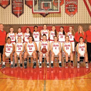 "THE COLFAX ""VIKINGS"" Girls' Basketball Team won a share of the 2018-19 Dunn-St. Croix Conference championship with Durand. Both squads finished 13-1 in league play. The Lady Vikings also won their third straight WIAA Division 4 regional crown with a 84-59 win over Cameron last Saturday afternoon, February 23. This year's team members and coaches are, in front row (L to R): Addy Olson, Erica Kallstrom, Emma Hurlburt, Savannah Henricks, Alyssa Dachel, Rachel Knutson and Morgan Schleusner. Back row (L to R): Assistant coach John Dachel, Madison Barstad, Addisyn Olson, Marissa Harmon, Saville Wilson, Rachel Scharlau, Kameri Meredith, Josie Steinke, Jayna Bowe, assistant coach Courtney Doucette and head coach Joe Doucette. —photo submitted"