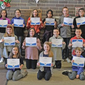SPELLING BEE WINNERS — The Spelling Bee winners in the Colfax school district for 2019 in classes third grade through eighth grade include, bottom row from left, Rayna Keltner, Lilly Lansin, Isaiah Entzminger and Mason Smith. Middle row from left: Lydia Polkoski, Olivia Johnson, Avah Elmer, Mason Yarrington and Conner Arntson. Back row from left: Rosie Sonnentag, Jayden Hendrickson, Leila Hurlburt, Madison Truber, Nathali Cuaquehua, Marek Neuville, Braden Kiekhafer and Audrey Ackerlund. Missing from the photograph is Alannah Smestuen. —photo by LeAnn R. Ralph
