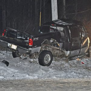 FATAL CRASH — Scott A. Gossel, 36 of Wilson, lost his life when the Ford F-250 pickup truck, pictured above, he was driving along US Highway 12 in the Town of Baldwin early Saturday morning, February 2 left the road roadway and struck a power pole. Gossel was pronounced dead at the scene. —photo submitted