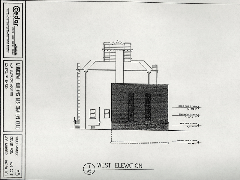 View of the back of the Colfax Municipal Building from the west with the elevator addition.