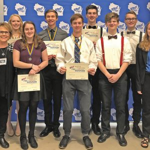 THE COLFAX FBLA attended a regional Leadership Conference in Superior on Saturday, February 2. Those members attendings included, front row, left to right: Adviser Kara Zutter, Alyssa Dachel, Edward Doerr, Nathaniel Lee and Rachel Knutson. Back row, left to right: Taylor Meyer, Tanner Nierenhausen, Drew Gibson and Pierce Harvey. —photo submitted