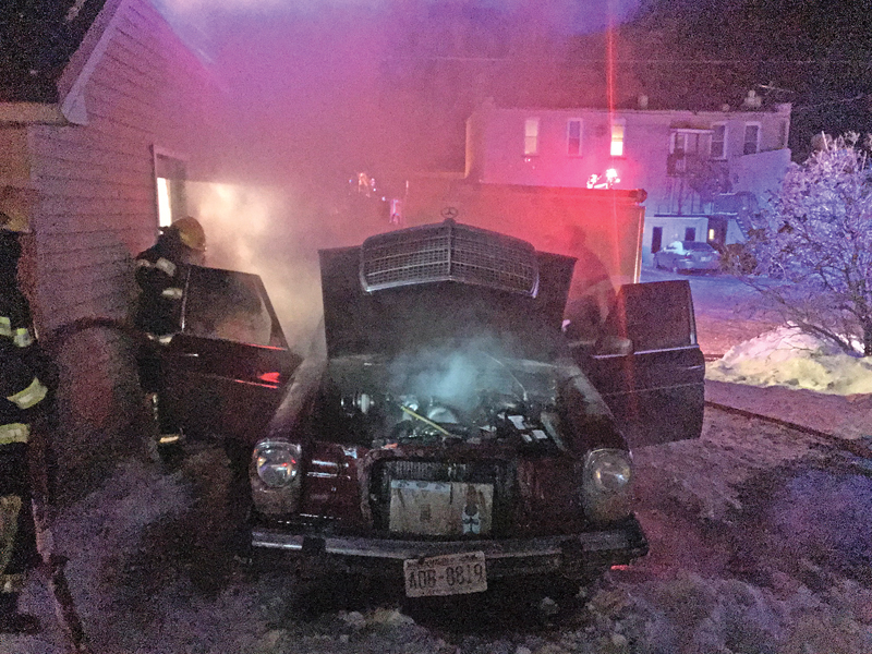 FIRE DID CONSIDERABLE DAMAGE to this car belonging to Kenan Cook. The Glenwood City Fire Department was called at 6:21 p.m. last Thursday for the fire at 109 East Elm Street. There were no injuries reported. —Fire Department photo