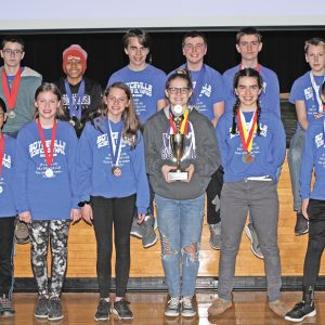 THE BOYCEVILLE Science Olympiad Middle School team took first place at Regionals this past Saturday. In Science Olympiad, the team with the lowest score wins. The Bulldogs accumulated 41 points, beating second place Menomonie by one point. The team will compete in the state meet held at UW-Stout on March 16, 2019. Front row (L to R): Levi Becker, Lauren Becker, Mariah Marvin, Kayden Benson, Shiloh Wheeldon and Zach Kersten. Back row, (L to R): Logan Windsor, Caden Wold, Peter Wheeldon, Parker Coombs, Luke Becker and Elijah Farrell. —photo by Steve Duerst
