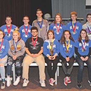 THE BOYCEVILLE HIGH SCHOOL Science Olympiad teams competed in Menomonie at Regionals on Saturday, February 23. The varsity earned second place and will move on to the State meet to be held at UW-Stout on March 16th. Shown in front row are (L to R): Ana Evenson, Tyra Kostman, Brandon Nunnery, Sarah Kapsner, Rachel Becker, Jasmine Windsor and Noelle Wheeldon. Back row (L to R): Coach Andy Hamm, Brady Helland, Nathan Corr, Cade Klefstad, Grace Edlin, Mark Timper and Connor Sempf. —photo by Steve Duerst