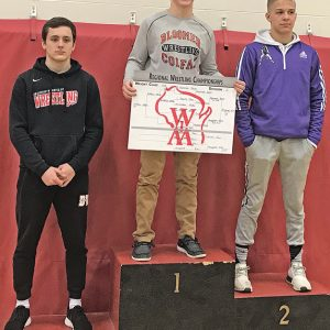 SECOND REGIONAL CHAMPIONSHIP — Colfax junior Mitchel Harmon captured his second straight regional title when he won the 138-pound championship at Baldwin-Woodville High School February 9 and qualified for this Saturday's sectional tournament in Nellisville. —photo submitted
