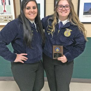 GLENWOOD CITY FFA members Ashlee Peterson (left) and Mae Buttles recently competed in the District FFA Speaking Competition held in Ellsworth, WI. Both ladies did an excellent job in delivering their speeches. Buttles will be moving on to sectionals with her prepared speech. —photo submitted
