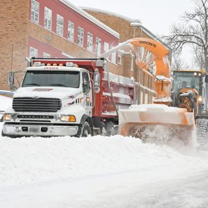 Snow cleanup Main Street
