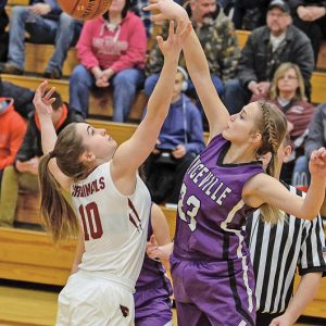 THE TIP — Kady Grambow, right, got the opening tip in the Bulldogs road game in Spring Valley. —photo by Rochelle Olson