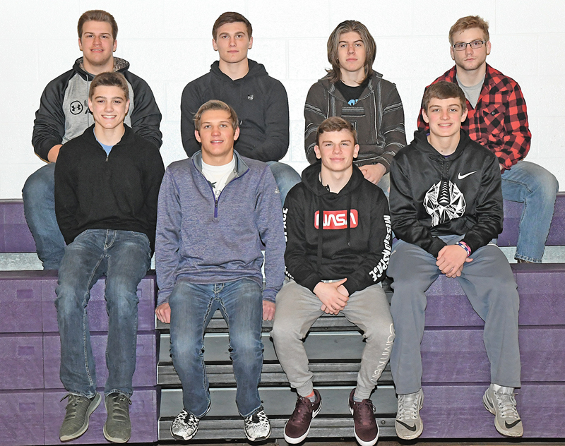 BOYCEVILLE once again dominated the selections for this year's Dunn-St. Croix All-Conference Wrestling teams. Nine Bulldogs earned honors, the most of any D-SC team. Front row (L to R): Ira Bialzi, Nick Goodell, Nate Stuart and Tyler Dormanen. Back row (L to R): Josh Marzofka, Trett Joles, Eli Swanson and Brcok Schlough, who was named the conference's wrestler of the year after winning his fourth straight individual state wrestling title February 23. Missing from the photo is Josiah Berg. —photo by Shawn DeWitt