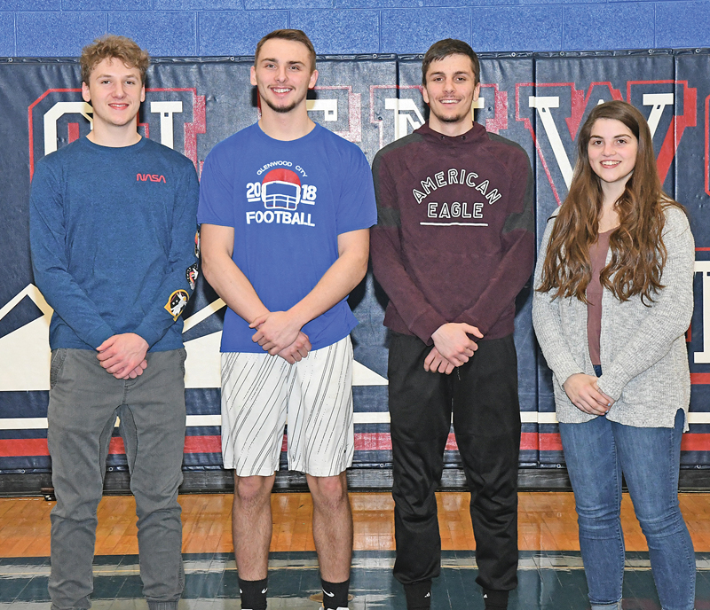 FOUR HILLTOPPERS were selected to the 2018-19 Dunn-St. Croix All-Conference boys' and girls' basketball teams. Glenwood City seniors named to the squads, from left to right are: Dillon Hierlmeier, Tanner Davis, Hadin DeSmith and Delaney Quinn. —photo by Shawn DeWitt