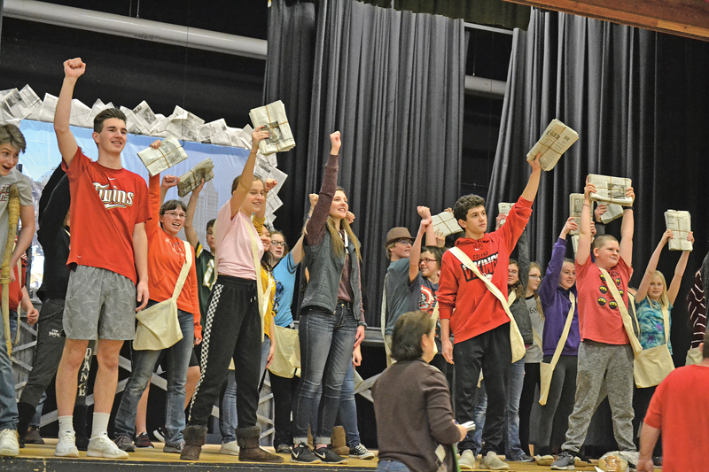 """NEWSIES — This year's Colfax High School musical is """"Newsies,"""" a production based on the Newsboys' Strike of 1899 in New York City. """"Newsies"""" started out as a Disney film in 1992 and became a Broadway musical in 2012. The Colfax High School performances are this weekend on Friday, Saturday and Sunday in the Martin Anderson Gymnasium. —photo by LeAnn R. Ralph"""