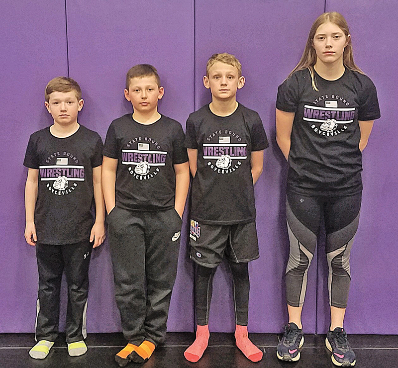 BOYCEVILLE YOUTH WRESTLING sent four competitors to the 2019 WWF Kids Folkstyle State Championships held March 22-23 in Madison. State participants were, from left to right: Lexton Benitz, Cole Retz, Luke Pember, and Emma Gruenhagen. —photo submitted
