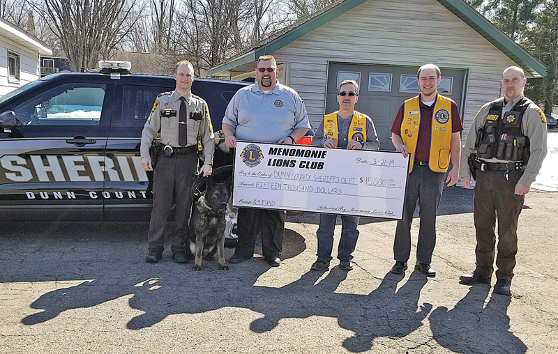 Dunn Sheriff's Department donation from Menomonie Lions Club