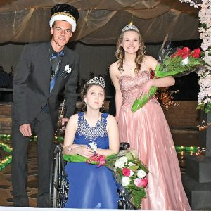 "BOYCEVILLE PROM ROYALTY — Boyceville's Class of 2020 held the 2019 Junior Prom entitled, ""Springtime in Central Park"", last Saturday, April 28. This year's court king and queens, pictured above from left to right, were: 2019 Prom King Cade Klefstad, Honorary Prom Queen Montanna Kaiser and 2019 Prom Queen Tara Gunnufson. Other court members included Ana Evenson, Emma Ouellette, Steven Rasmussen, Dane Wendland, Brendan Sempf, Emma Bygd, Hannah Johnson and Josh Marzofka. —photo by Shawn DeWitt"