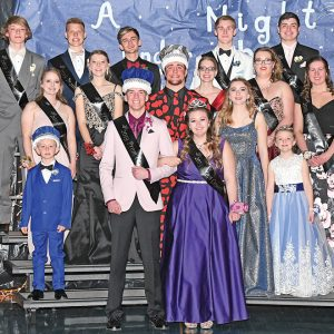 """GLENWOOD CITY HIGH SCHOOL celebrate the 2019 Junior Prom this past Saturday, April 28 in the high school gym. Mae Buttles was chosen as this year's prom queen while Thomas Rosenow was tabbed as the prom king. This year's event was titled, """"A Night Under the Stars"""". The 2019 GCHS Junior Prom court is pictured above. In front, are the 2019 Prom King and Queen, Thomas Rosenow and Mae Buttles. Second row (L to R): Lyle Wagner (crown bearer), 2018 Prom King Bryce Fayerweather, 2018 Prom Queen Tressa Peskar and Avery Holden (crown bearer). Third row (L to R): Isabella Lawson, Alexa Holden, Nyah Anderson, Shelby Rundquist and Leah Magsam. Back row (L to R): Casimir Grant, Ethan Hanson, Wyatt Johnson, Harrison Chouinard and Jordan Klatt. —photo by Shawn DeWitt"""