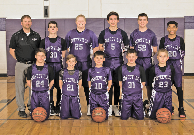 THE 7TH Grade Boyceville Basketball Team Finished the season undefeated at 28-0. The Boyceville Boys' 7th grade basketball team for the third season in a row finished the season undefeated. The squad ended the season 28-0. After their school ball season the team played tournaments in the IBBL league and the GNBL league. This season the team averaged scoring over 45 points a game while only giving up 16. Over the last three years, the team is 60- 0. The team is very unselfish and disciplined, according to coach Brian Roemhild, and has set high goals to continue to improve in the off season. Coach Roemhild said that Jake Peterson, Greg Wold and Steve Olson assisted during the season. Members include, in front row (L to R): Braden Roemhild, Wyatt Sell, Zach Kersten, Paul Kurschner and Devin Halama. Back row (L to R): Coach Brian Roemhild, Nick Olson, Grant Kaiser, Taheton Downey, Parker Coombs and Caden Wold. —photo submitted