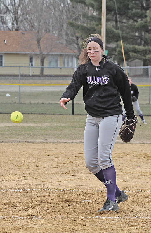 ON THE MOUND for the Bulldogs in last Tuesday's home game against the Pepin/Alma Eagles was Hannah Johnson. Johnson carried Boyceville through all seven innings earning three strike outs and eight walks as well as scoring two runs in a 14-13 loss to the Eagles at Pafko Park. —photo by Amber Hayden