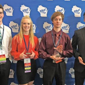 COLFAX FBLA MEMBERS received recognition at the State Leadership Conference held April 8-9 in Green Bay. Pictured, from left to right, are: Drew Gibson, 7th place in Intro to Public Speaking; Taylor Meyer, 5th place in Spreadsheet Applications; Edward Doerr, 5th place in Computer Applications; and Mitchell Reisdorf, 3rd place in Mobile Application Development. Mitchell qualified for the national competition. —photo submitted