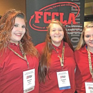 FCCLA State Conference was held at the Kalahari Resort April 8-10, in Wisconsin Dells. The Colfax High School students that attended were, from left to right: Hannah Lemler, Elizabeth Affolter and Rylee Parker. Hannah Lemler competed in Culinary Creations, she earned First Gold in the senior category. Elizabeth and Rylee represented Colfax by being Voting Delegates. —photo submitted