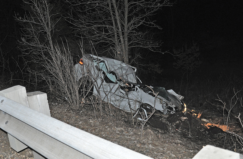 DEADLY CRASH — Brian T. Foster, 35 of Hudson and the driver of the heavily damaged 2011 Ford Focus pictured above, died from injuries caused in this single-vehcile accident that happened the evening of March 27 on State Highway 35 in St. Joseph Township near Hudson. —photo submitted