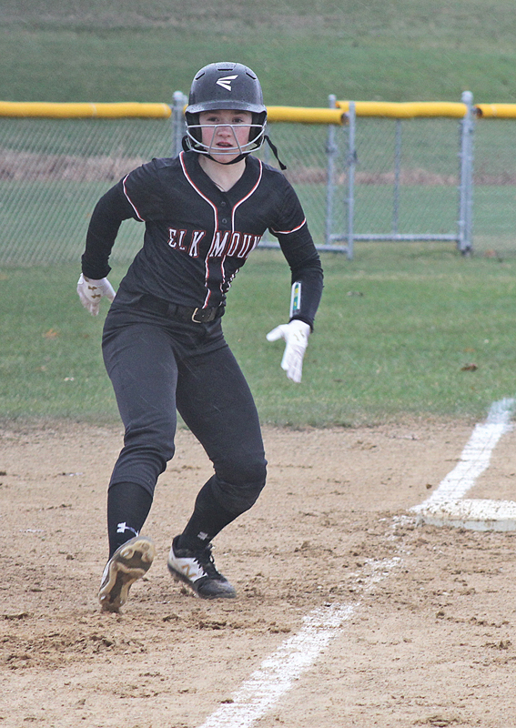 LOOKING HOME — The Mounders' McKenna Diermeier began inching toward home plate during the Monday, April 22, home game against Spring Valley. Diermeier finished the evening with two runs. —photo by Amber Hayden