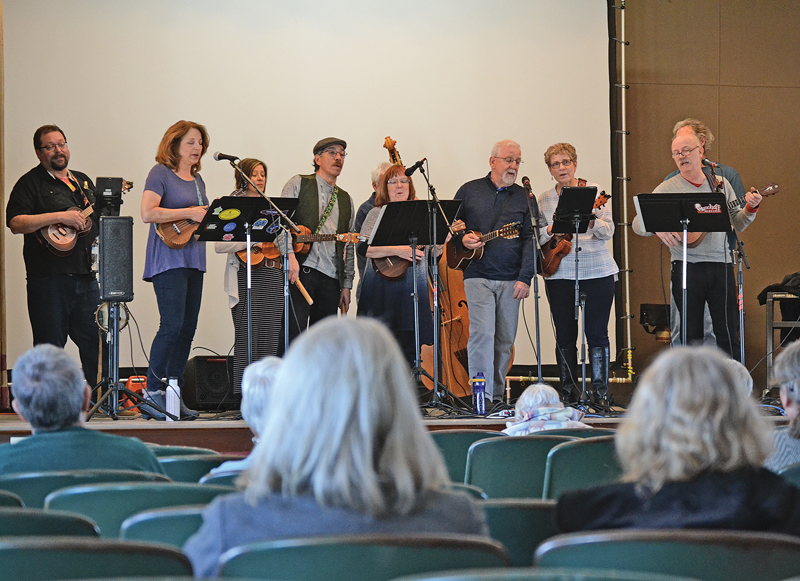 EAU CLAIRE UKULELE KLUB — The Eau Claire Ukulele Klub performed at the Colfax Municipal Building's Cozy Theater Sunday, April 14. —photo by LeAnn R. Ralph