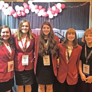 FIVE MEMBERS of the Glenwood City High School FCCLA club attended the 2019 State Leadership Conference held at the Kalahari Resort in Wisconsin Dells on April 8-10. The members are pictured above from left to right: Leah Magsam, Hanna Strehlo, Delaney Quinn, Alexis Albrecht, and Makayla Sina. —photo submitted