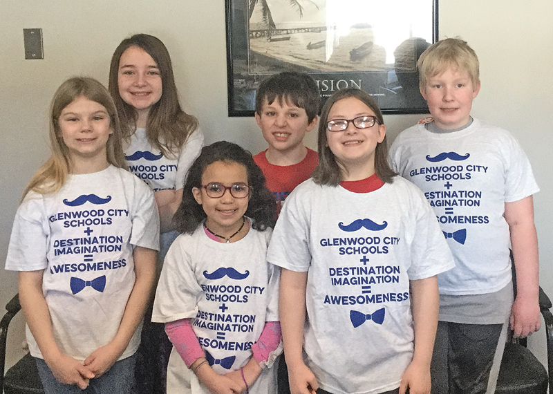 """THE """"GC Geek Freeks"""" were one of two teams from the Glenwood City Elementary that competed in the regional Destination Imagination tournament held in Hudson on March 30. Team members are, in front row (L to R): Evelyn Gossel, Aleena Main and Lillian Fox. Back row (L to R): Brooklyn Macheska, Gabe Kohler and Gus Kohler. Managers were Laura Lee and Tiffany Fox. —photo submitted"""