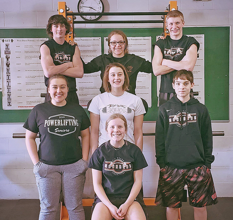 2019 POWERLIFTING NATIONALS— Seven lifters from Elk Mound made their way to Alexandria, LA for the 2019 USA Powerlifting High School National Championships from March 28-31. Sitting: Morgyn Hallum. Second row (L to R): Deanna Leon, Hannah Cynor and Devin Balts. Third row (L to R): Blake Burlingame, Abby Kasper and Lane Lee. —photo submitted
