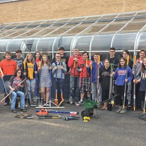 GLENWOOD CITY horticulture students posed with newly-acquired landscaping equipment that was purchased through a grant from Compeer Financial. —photo submitted