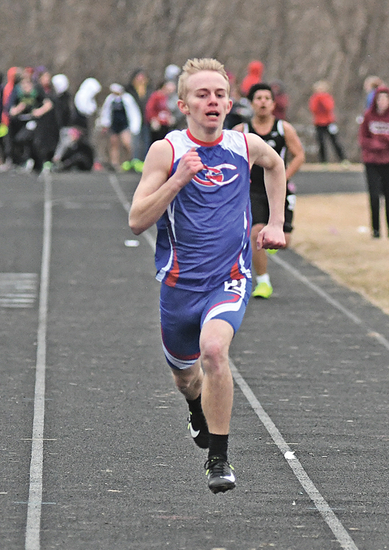 GLENWOOD CITY sophomore Andy Grant neared the finish line of the boys' 400 meter dash at the St. Croix Central Invitational held Thursday, April 4. Grant placed eighth. —photo by Shawn DeWitt