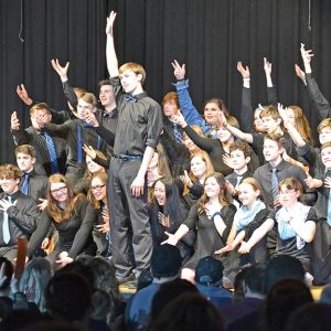 "FORGET YOU — The Colfax High School show choir performed ""Forget You"" at Spotlight Night April 5 in the Martin Anderson Gymnasium. Spotlight Night raises funds for scholarships to send Colfax students to music camps. — Photo by LeAnn R. Ralph"