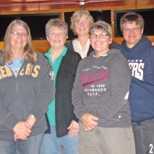 WED NITE LADIES — Family ChiroCare took home the trophy on the Wed Nite Ladies league. Pictrued are Cindy Rassbach, Ione DeSmith, Kathy Alleman, Lisa Kaiser, and Lori Klinger. —photo submitted