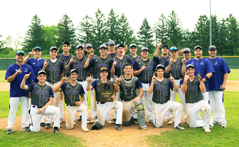"WE ARE #1 — Players and coaches of the Boyceville ""Bulldogs"" Baseball Team celebrated its sectional championship it won Tuesday evening, June 4 by holding up their index fingers to indicated they were number. Boyceville captured the WIAA Division 3 Chippewa Falls Sectional title by defeating Neillsville 2-0 in the semifinal and then trounced the Beavers of Cumberland 13-2 in five innings in championship contest to earn the programs first state berth since 2000. —photo by Jess Boesl, Boesl Portrait Design"
