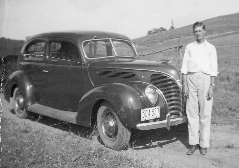 Milton Knudson and his car he won at the Colfax Fair Aug. 13th 1938