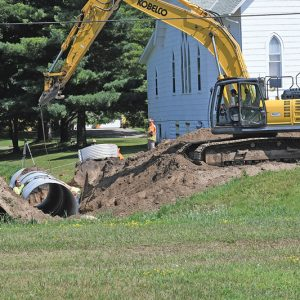 NEW CULVERTS were being installed Monday, July 22 on the west end of Boyceville's Main Street reconstruction project. —photo by Shawn DeWitt