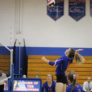 GCVB Prescott Kassidi Thompson up for the kill, #12 Delaney Fayerweather & #4 Bella Rassbach covering