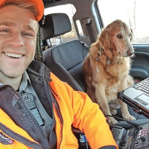 Warden Clark Delzer and his surprise runaway rescue. -photo submitted