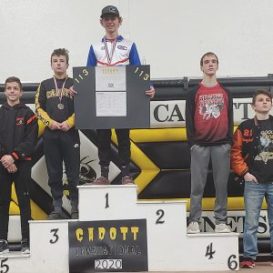 Andy Grant on podium GC Wrestling in Cadott