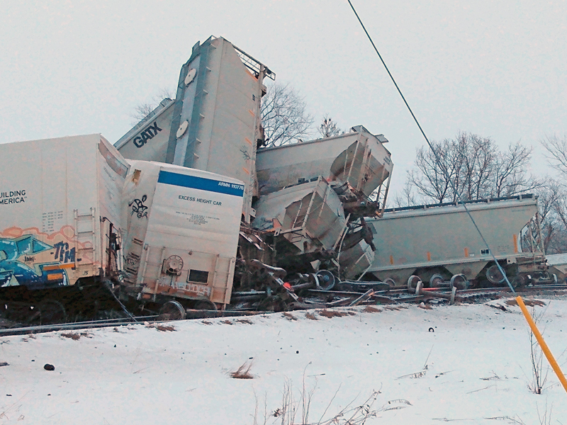 Several cars from a Union Pacific train derailment in Knapp